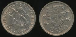 World Coins - Portugal, Republic, 1980 2-1/2 Escudos - Uncirculated