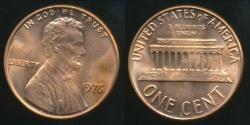 World Coins - United States, 1976 One Cent, Lincoln Memorial - Uncirculated