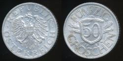 World Coins - Austria, Republic, 1947 50 Groschen - Extra Fine
