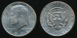 World Coins - United States, 1971 Half Dollar, Kennedy - Uncirculated