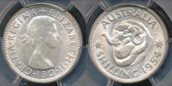 World Coins - Australia, 1954(m) One Shilling, 1/-, Elizabeth II (Silver) - PCGS MS64 (Ch-Unc)