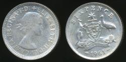 World Coins - Australia, 1961 Sixpence, 6d, Elizabeth II (Silver) - Very Fine