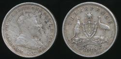 World Coins - Australia, 1910 Threepence, 3d, Edward VII (Silver) - Fine