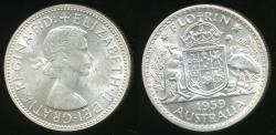 World Coins - Australia, 1959 Florin, 2/-, Elizabeth II (Silver) - Uncirculated