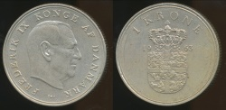 World Coins - Denmark, Kingdom, Frederik IX, 1963 Krone - almost Uncirculated