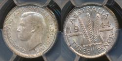 World Coins - Australia, 1944(s) Threepence, 3d, George VI (Silver) - PCGS MS64 (Ch-Unc)