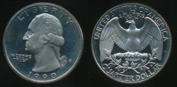 World Coins - United States, 1990-S Quarter, 1/4 Dollar, Washington - Proof