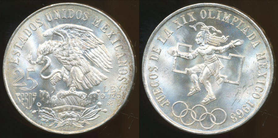 World Coins - Mexico, United States, 1968 25 Pesos (Silver) - Choice Uncirculated