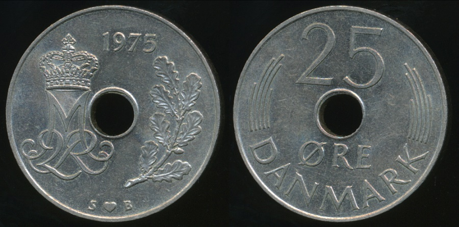 World Coins - Denmark, Kingdom, Margrethe II, 1975 25 Ore - almost Uncirculated