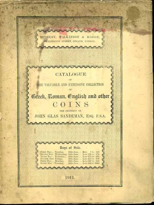 Ancient Coins - Sotheby's 1911 Sale catalogue John Sandman, Greek, Roman, English Coins