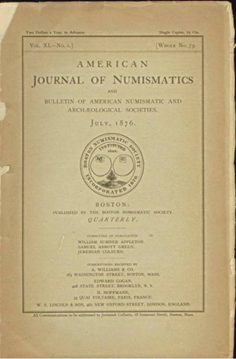 Ancient Coins - American Journal of Numismatics. Volume 11, 1876-1877