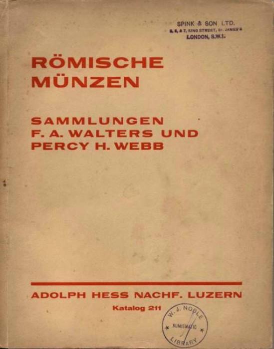 Ancient Coins - Hess, 1932, Romische Munzen, Sammlungen Frederick Walters und Percy Webb