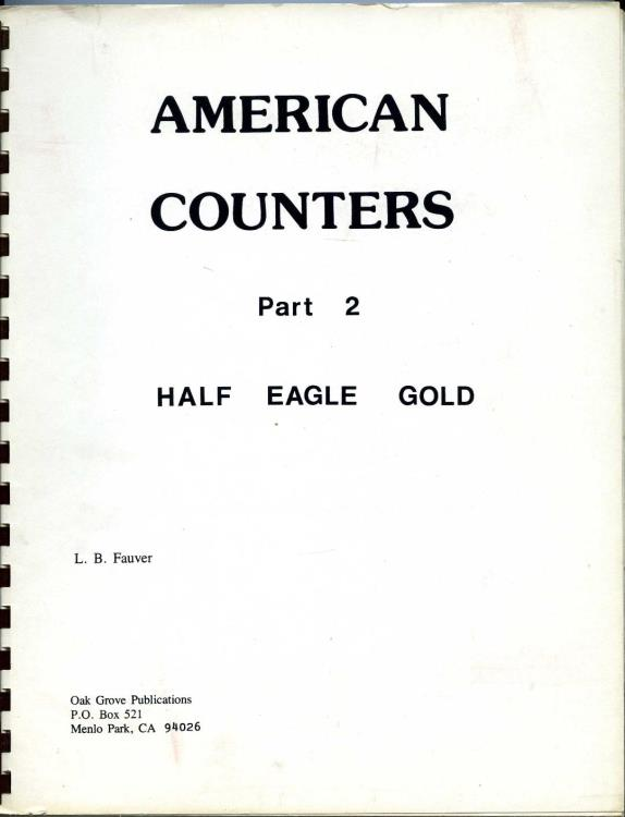 US Coins - Fauver: American Counters. Part 2 Half Eagle Gold