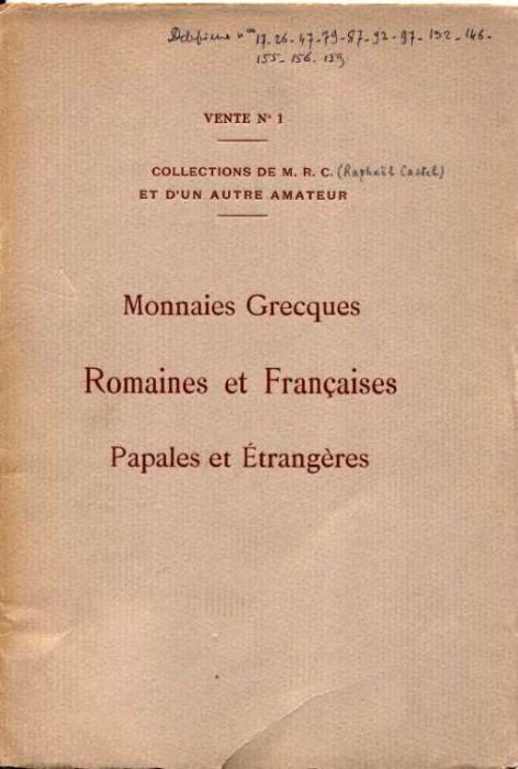 Ancient Coins - Ratto Vente  1. Monnaies Grecques, Romaines, Francaises, Papales et Etrangers, 1931