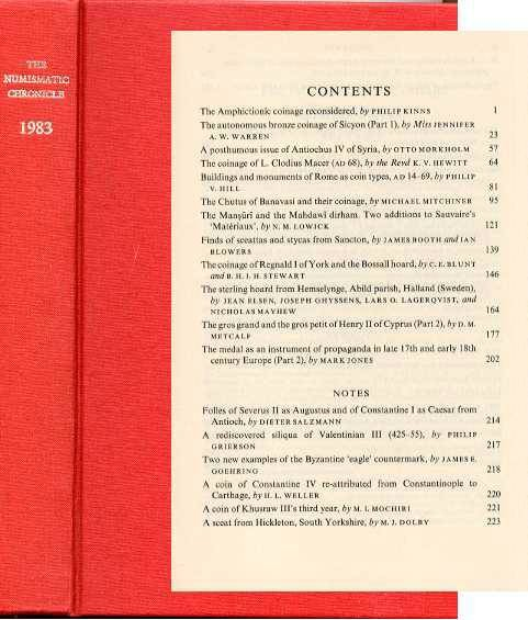 Ancient Coins - Numismatic Chronicle 1983