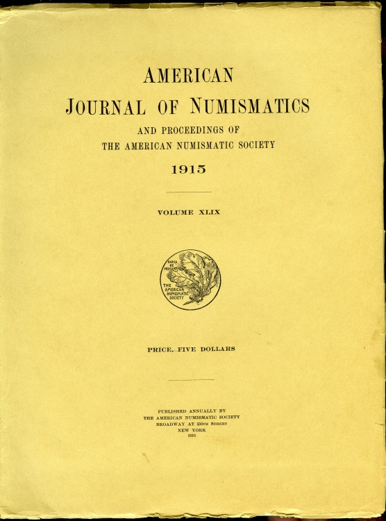 US Coins - American Journal of Numismatics, 1915, Volume XLIX