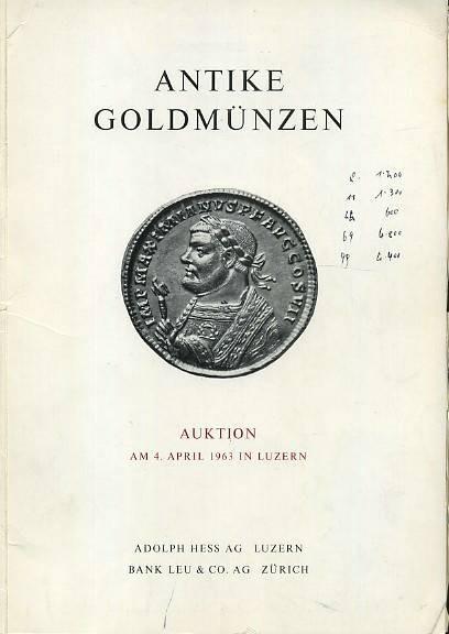 Ancient Coins - Hess-Leu Sale  . Antike Gold Munzen, April 1963