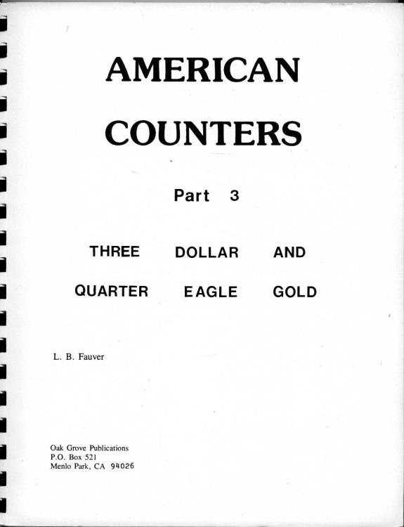 US Coins - Fauver: American Counters. Part 3. Three Dollar and Quarter Eagle Gold