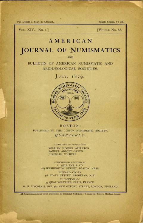 US Coins - American Journal of Numismatics, 1879-1880, Volume XIV