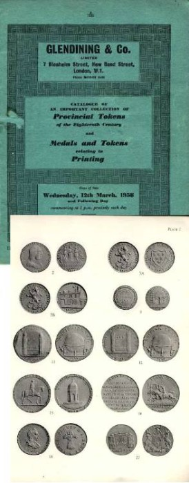Ancient Coins - Glendinings Sale of Conder Tokens & Printing Tokens 1958
