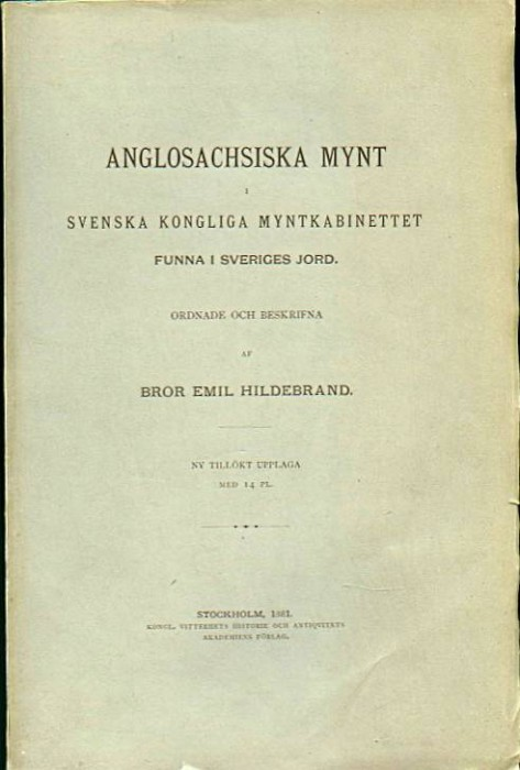 Ancient Coins - Hildebrand: Anglosachsiska Mynt, 1881