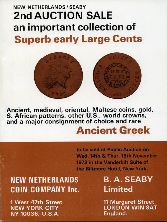 US Coins - New Netherlands 64. 1973, Natfzger Large Cents