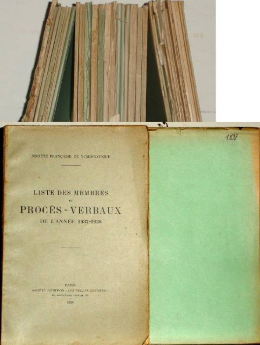 Ancient Coins - Long Run of Proceeding of the French Numismatic Society 1897-1938