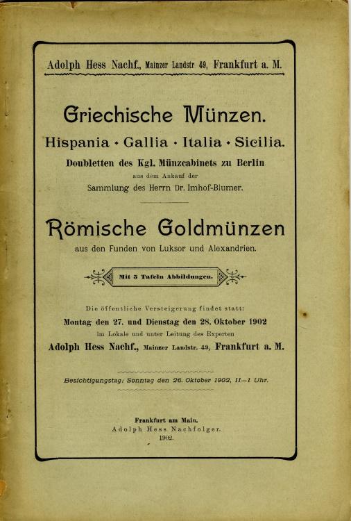 Hess Adolph Griechische Münzen Hispania Gallia Italia Sicilia