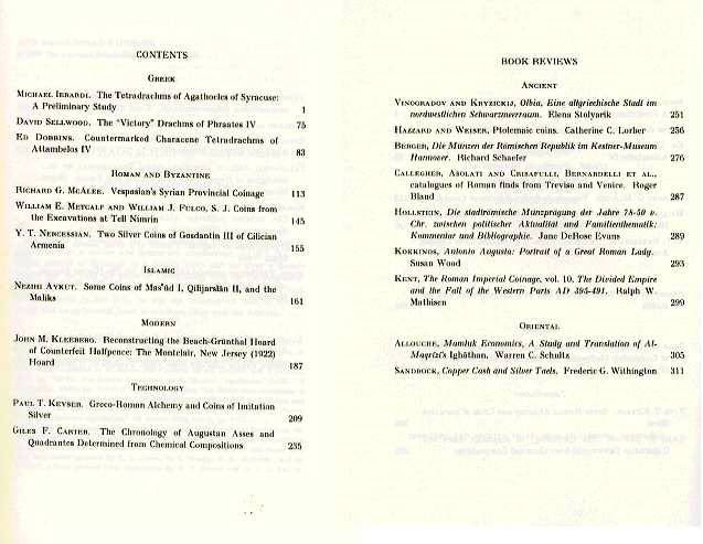 Ancient Coins - A.N.S.: American Journal of Numismatics  7-8 (1996)