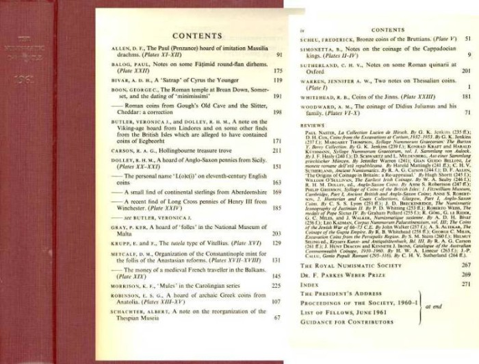Ancient Coins - Numismatic Chronicle 1961