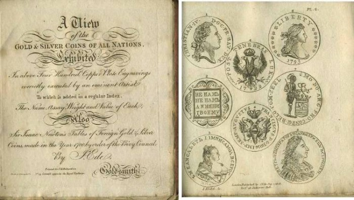 Ancient Coins - J. Ede: View of Gold & Silver Coins, 1808, with image of US 1793 Silver Dollar