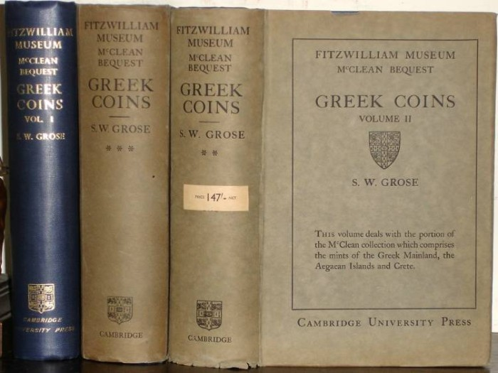 Ancient Coins - Grose, CATALOGUE OF THE MCCLEAN COLLECTION OF GREEK COINS - in DUST JACKETS