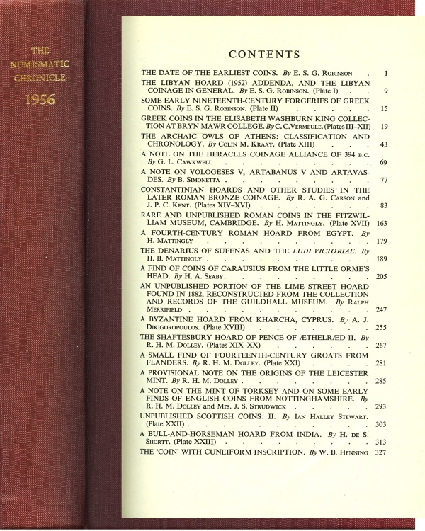 Ancient Coins - Numismatic Chronicle 1956