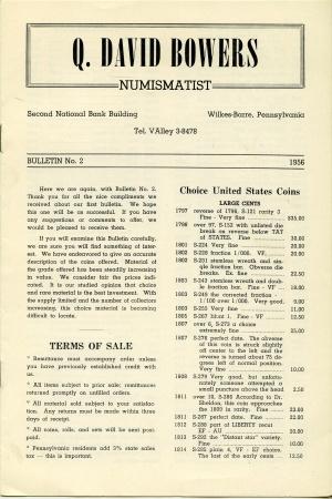 Ancient Coins - Bowers: Bulletin No. 2, 1956.