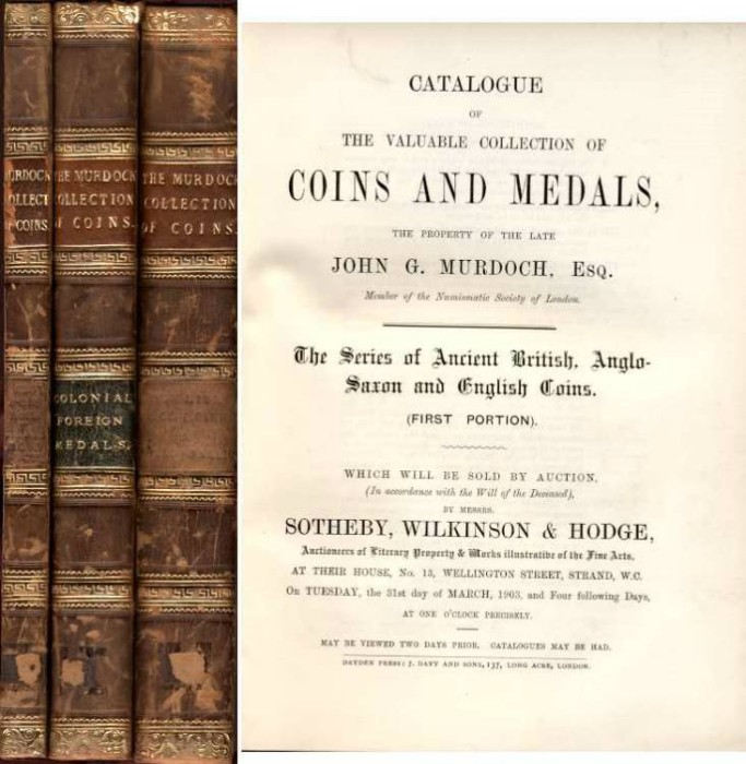 World Coins - Murdoch Catalogue. Sotheby's, 1903-1904, 7 Parts, priced, named, plated