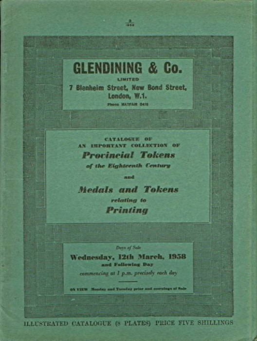 Ancient Coins - Glendinings Sale of Conder Tokens & Printing Tokens 1958, Longman Collection