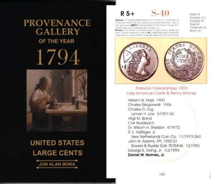 Ancient Coins - PROVENANCE GALLERY OF THE YEAR 1794. UNITED STATES LARGE CENTS