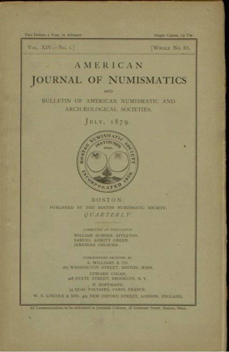 Ancient Coins - American Journal of Numismatics. Volume 14, 1879-1880