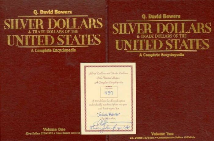 Ancient Coins - Bowers 2 Volume Silver Dollars, Jules Reiver's Set