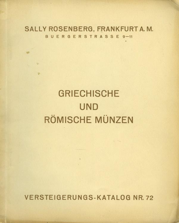 Ancient Coins - Rosenberg July 11, 1932; Griechische und Römische Münzen