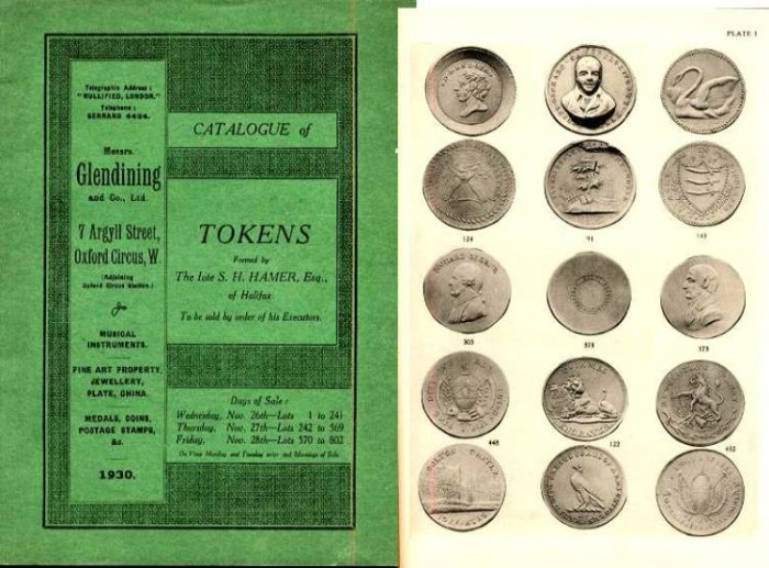 Ancient Coins - CATALOGUE OF TOKENS FORMED BY THE LATE S. HAMER, ESQ OF HALIFAX,