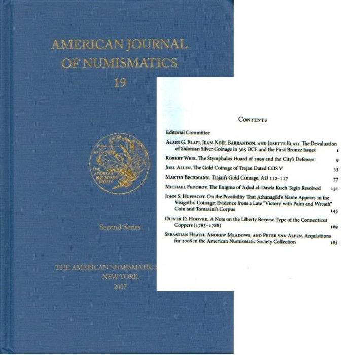 Ancient Coins - A.N.S.: American Journal of Numismatics 19 (2007)