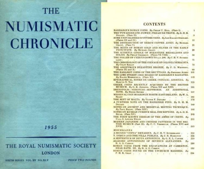 Ancient Coins - NUMISMATIC CHRONICLE 1955