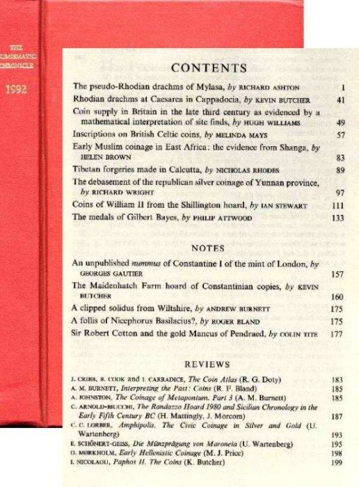 Ancient Coins - Numismatic Chronicle 1992