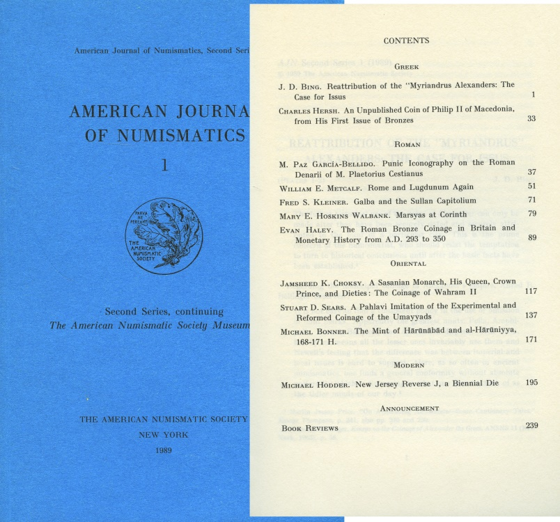 Ancient Coins - A.N.S.: American Journal of Numismatics  1 (1989)