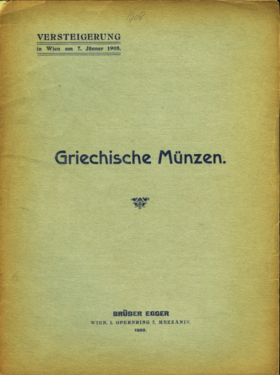 Ancient Coins - Egger, Bruder: Griechische Münzen. January 7, 1908