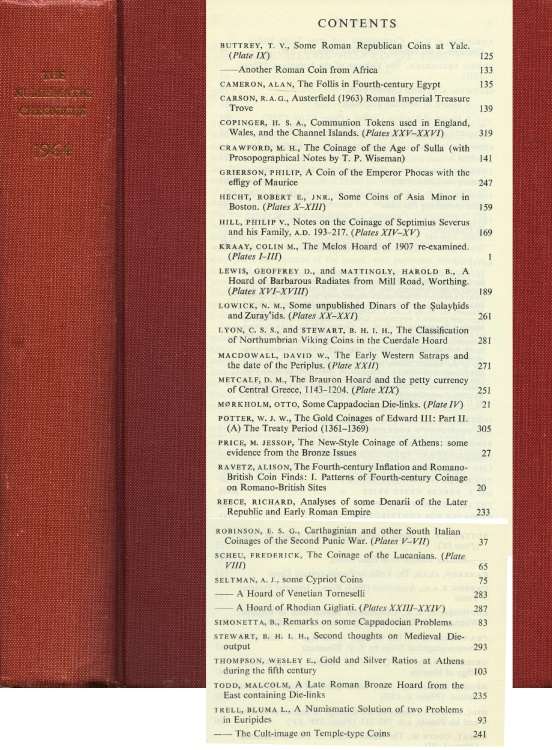 Ancient Coins - Numismatic Chronicle 1964