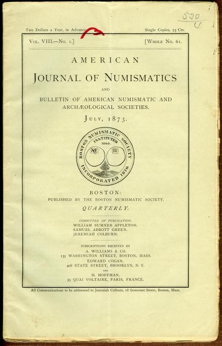 Ancient Coins - American Journal of Numismatics. Volume 10, 1875-1876