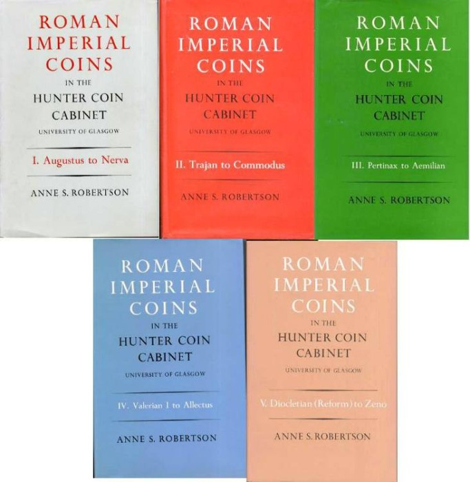 Ancient Coins - Robertson. ROMAN IMPERIAL COINS IN THE HUNTER COLLECTION. 5 Volumes complete.