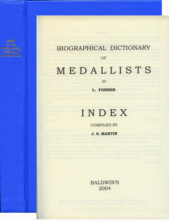 World Coins - Forrer (Martin) Index to Biographical Dictionary